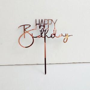 Happy Birthday Topper - Rose Gold
