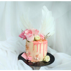 Pink Floral Angel Wing
